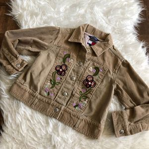 Tommy Hilfiger 5/6 Tan Corduroy Embroidered Jacket